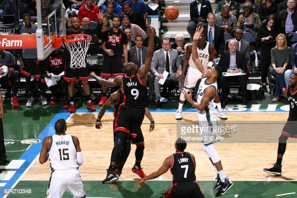 Giannis Antetokounmpo of the Milwaukee Bucks shoots the ball against the Toronto Raptors during Game Six of the Eastern Conference Quarterfinals of...