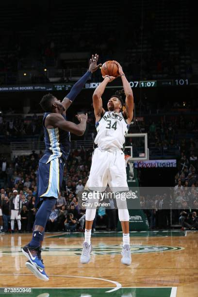 Giannis Antetokounmpo of the Milwaukee Bucks shoots the ball against the Memphis Grizzlies on November 13 2017 at the BMO Harris Bradley Center in...