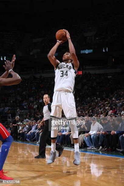Giannis Antetokounmpo of the Milwaukee Bucks shoots the ball against the Detroit Pistons on November 15 2017 at the BMO Harris Bradley Center in...