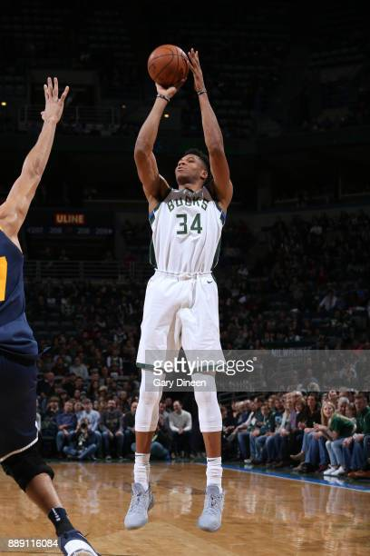 Giannis Antetokounmpo of the Milwaukee Bucks shoots the ball against the Utah Jazz on December 9 2017 at the BMO Harris Bradley Center in Milwaukee...