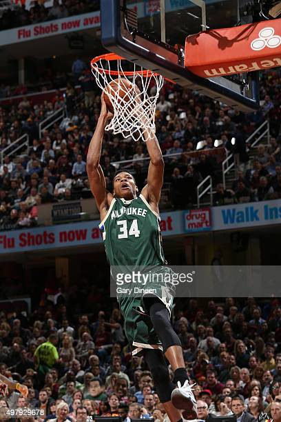 Giannis Antetokounmpo of the Milwaukee Bucks shoots the ball during the game against the Cleveland Cavaliers on November 19 2015 at Quicken Loans...