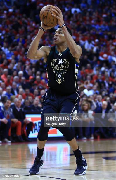 Giannis Antetokounmpo of the Milwaukee Bucks shoots the ball in the second half of Game Five of the Eastern Conference Quarterfinals against the...