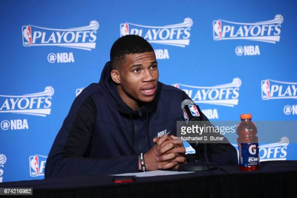 Giannis Antetokounmpo of the Milwaukee Bucks speaks to the media after Game Six of the Eastern Conference Quarterfinals of the 2017 NBA Playoffs on...