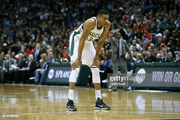 Giannis Antetokounmpo of the Milwaukee Bucks stands on the court in the second quarter in Game Six of the Eastern Conference Quarterfinals against...