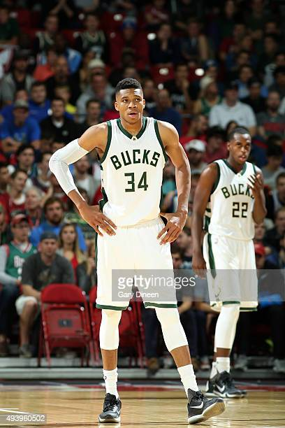 Giannis Antetokounmpo of the Milwaukee Bucks stands on the court against the Minnesota Timberwolves during preseason game on October 20 2015 at the...