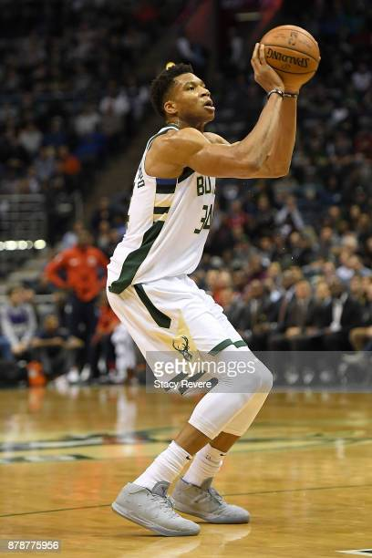 Giannis Antetokounmpo of the Milwaukee Bucks takes a shot during a game against the Washington Wizards at the Bradley Center on November 20 2017 in...