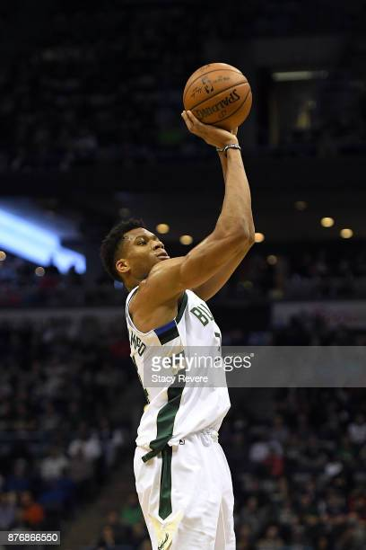 Giannis Antetokounmpo of the Milwaukee Bucks takes a three point shot during the first half of a game against the Washington Wizards at the Bradley...