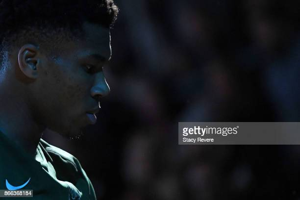 Giannis Antetokounmpo of the Milwaukee Bucks waits on the sideline during player introductions prior to a game against the Charlotte Hornets at the...