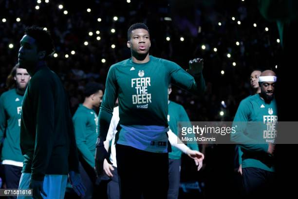 Giannis Antetokounmpo of the Milwaukee Bucks walks onto the court before the start of the game against the Toronto Raptors during the first half of...