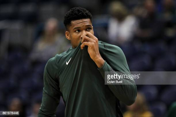 Giannis Antetokounmpo of the Milwaukee Bucks warms up before a preseason game against the Detroit Pistons at BMO Harris Bradley Center on October 13...