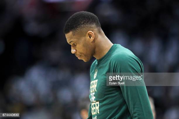 Giannis Antetokounmpo of the Milwaukee Bucks warms up before Game Six of the Eastern Conference Quarterfinals against the Toronto Raptors during the...