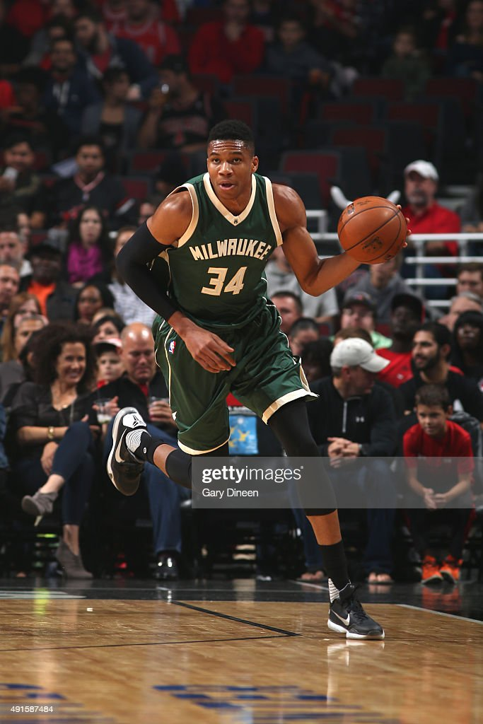 Giannis Antetokounmpo of the Milwaukee Bucksbrings the ball up court against the Chicago Bulls during a preseason game on October 6 2015 at the...