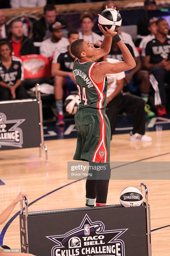 Giannis Antetokounmpo #34 shoots during the Sears Shooting Stars Competition on State Farm All-Star Saturday Night as part of the 2014 All-Star Weekend at Smoothie King Center on February 15, 2014 in New Orleans, Louisiana.