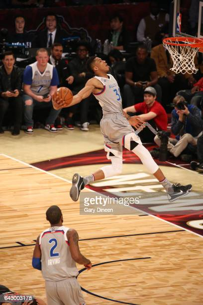 Giannis Antetokounmpo#34 of the Eastern Conference dunks during NBA AllStar Game as part of the 2017 NBA AllStar Weekend on February 19 2017 at the...
