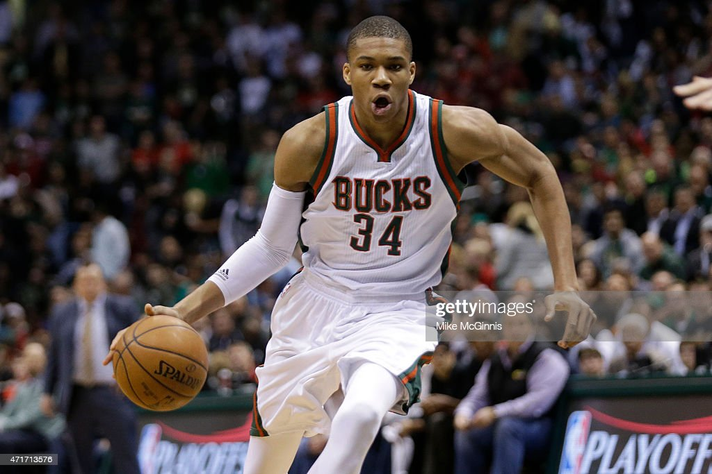 Giannis Antetokounpo of the Chicago Bulls dribbles the basketball up the court during the first quarter against the Milwaukee Bucks in the first...
