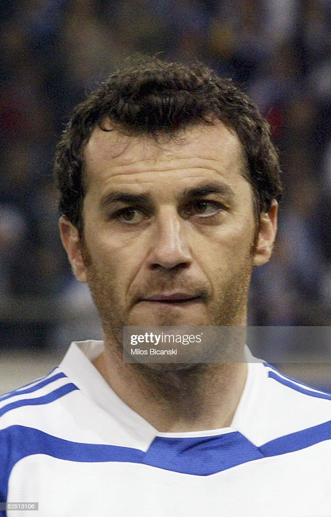 Giannis Goumas of Greece poses for a portrait before their 2006 World Cup qualification football match against Albania on March 30, 2005 at Giorgos Karaiskaki Stadium in Athens, Greece. Greece defeated Albania 2-0.