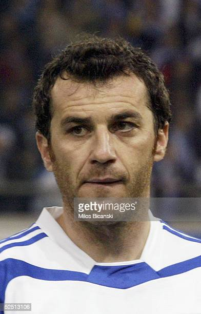 Giannis Goumas of Greece poses for a portrait before their 2006 World Cup qualification football match against Albania on March 30 2005 at Giorgos...