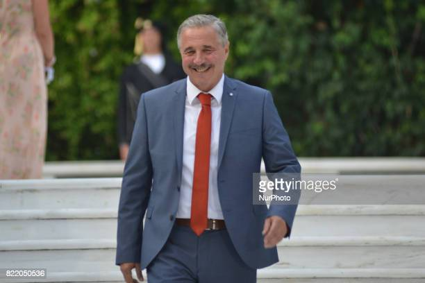 Giannis Maniatis PASOK on the occasion of the 43rd anniversary of restoration of Democracy at the Presidential Palace in Athens Greece on Monday July...