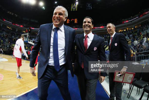 Giannis Sfairopoulos Head Caoch of Olympiacos Piraeus and Zeljko Obradovic Head Coach of Fenerbahce Istanbul pictured prior to the 2016/2017 Turkish...