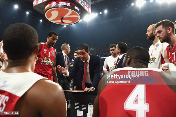 Giannis Sfairopoulos Head Caoch of Olympiacos Piraeus during a timeout during the Championship Game 2017 Turkish Airlines EuroLeague Final Four...