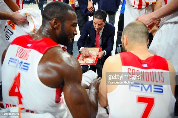 Giannis Sfairopoulos Head Caoch of Olympiacos Piraeus during the Turkish Airlines EuroLeague Final Four Semifinal B game between CSKA Moscow v...