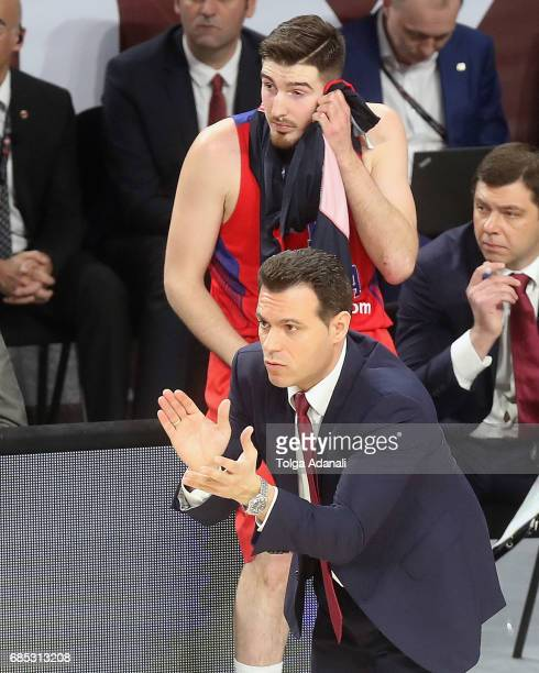 Giannis Sfairopoulos Head Caoch of Olympiacos Piraeus in action during the Turkish Airlines EuroLeague Final Four Semifinal B game between CSKA...