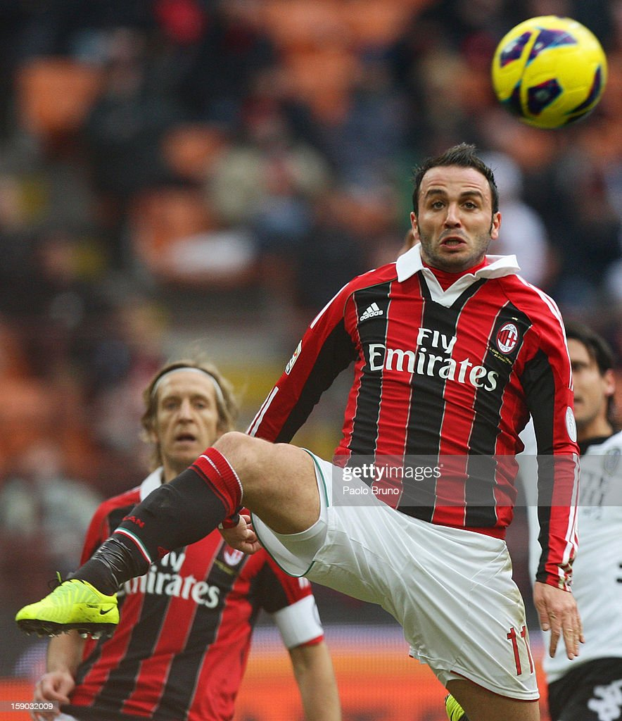 Gianpaolo Pazzini of AC Milan in action during the Serie A match between AC Milan and AC Siena at San Siro Stadium on January 6, 2013 in Milan, Italy.