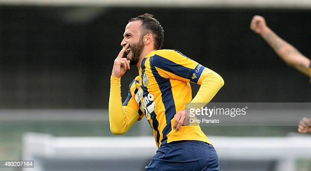 Gianpaolo Pazzini of Hellas Verona celebrates after scoring his opening goal from the penalty spot during the Serie A match between Hellas Verona FC...