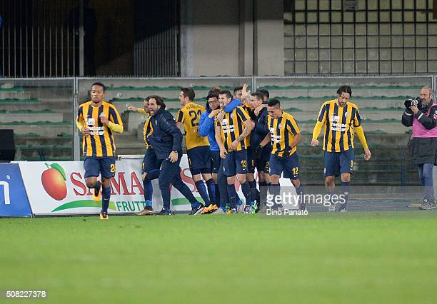 Gianpaolo Pazzini of Hellas Verona celebrates after scoring his team's second goal during the Serie A match between Hellas Verona FC and Atalanta BC...