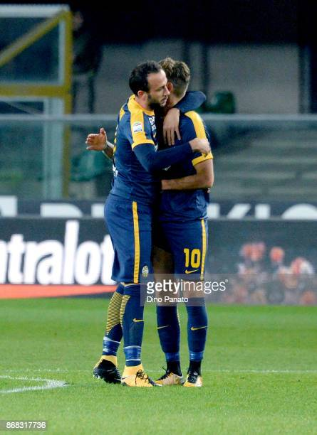 Gianpaolo Pazzini of Hellas Verona FC celebrates after scoring his team's first goal from the penalty spot during the Serie A match between Hellas...