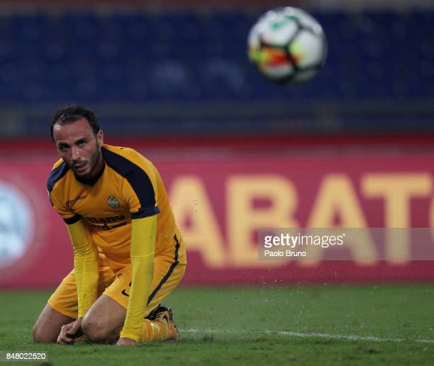 GianPaolo Pazzini of Hellas Verona FC reacts during the Serie A match between AS Roma and Hellas Verona FC at Stadio Olimpico on September 16 2017 in...