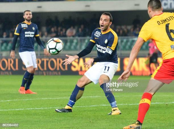 Gianpaolo Pazzini of Hellas Verona FC reacts during the Serie A match between Hellas Verona FC and Benevento Calcio at Stadio Marc'Antonio Bentegodi...