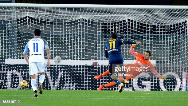 Gianpaolo Pazzini of Hellas Verona FC scores his team's first goal from the penalty spot during the Serie A match between Hellas Verona FC and FC...