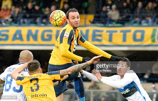 Gianpaolo Pazzini of Hellas Verona in action during the Serie A match between Hellas Verona FC and FC Internazionale Milano at Stadio Marc'Antonio...