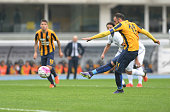 Gianpaolo Pazzini of Hellas Verona scores his opening goal from the penalty spot during the Serie A match between Hellas Verona FC and Udinese Calcio...