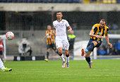 Gianpaolo Pazzini of Hellas Verona shoots during the Serie A match between Hellas Verona FC and Torino FC at Stadio Marc'Antonio Bentegodi on...