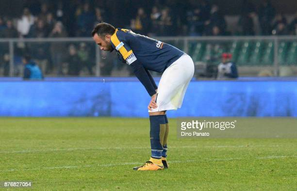 Gianpaolo Pazzini of Hellas Verona shows his dejection after the Serie A match between Hellas Verona FC and Bologna FC at Stadio Marc'Antonio...