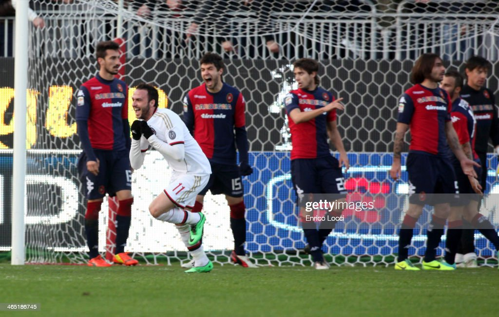 Gianpaolo Pazzini of Milan celebrates after scoring the winning goal during the Serie A match between Cagliari Calcio and AC Milan at Stadio Sant'Elia on January 26, 2014 in Cagliari, Italy.