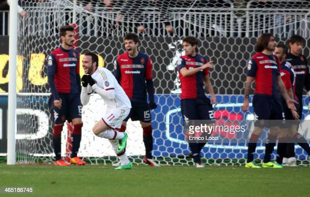 Gianpaolo Pazzini of Milan celebrates after scoring the winning goal during the Serie A match between Cagliari Calcio and AC Milan at Stadio...