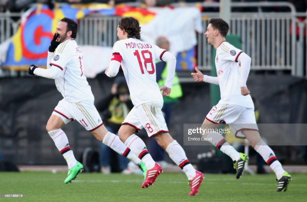 Gianpaolo Pazzini of Milan celebrates with team-mates after scoring the winning goal during the Serie A match between Cagliari Calcio and AC Milan at Stadio Sant'Elia on January 26, 2014 in Cagliari, Italy.
