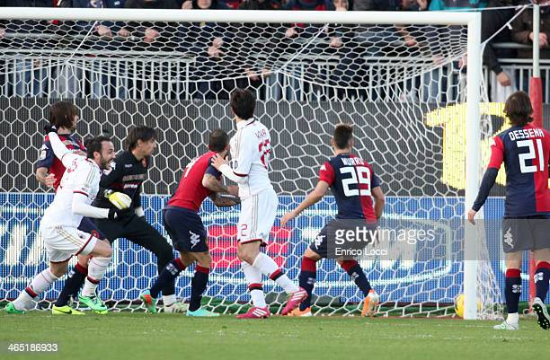 Gianpaolo Pazzini of Milan scores the winning goal during the Serie A match between Cagliari Calcio and AC Milan at Stadio Sant'Elia on January 26...