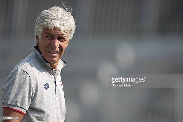 Gianpiero Gasperini manager of Genoa CFC looks on during the preseason friendly match between Empoli FC and Genoa CFC on August 8 2015 in Massa Italy