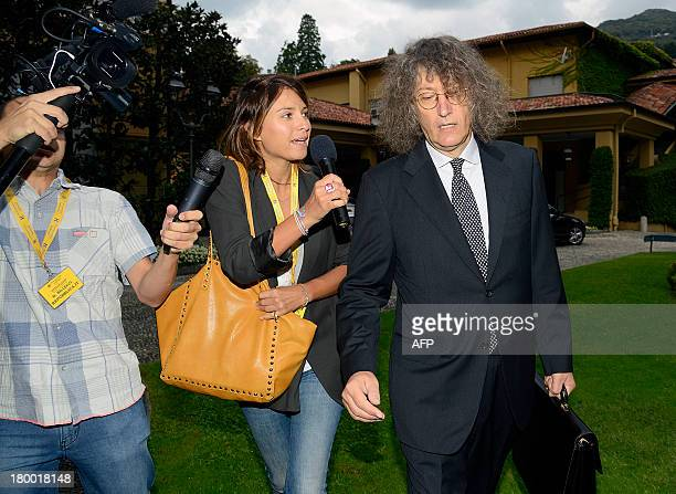 Gianroberto Casaleggio Chairman of Casaleggio Associati and cofounder of the Five Star Movement answers journalists' questions as he arrives at the...