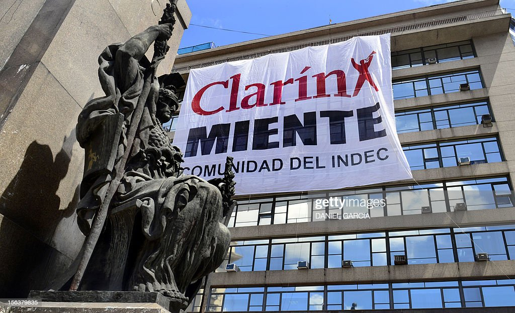 """A giant banner hanging from the building of INDEC (National Statistics and Censuses Institute) reads """"Clarin Lies"""" on November 14, 2012 in front of La Manzana de las Luces. The head of the Federal Authority of Audiovisual Communication Services (AFSCA) Martin Sabbatella announced that after December 7, 2012 the State will act to compliance with the law and will use all the tools to ensure the operation of the services and defend jobs position."""
