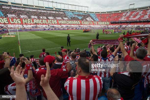A giant banner reads ''Meloncoly walk Manzanares How I Love you'' at the estadio Vicente Calderon stadium ahead of the La Liga match between Club...