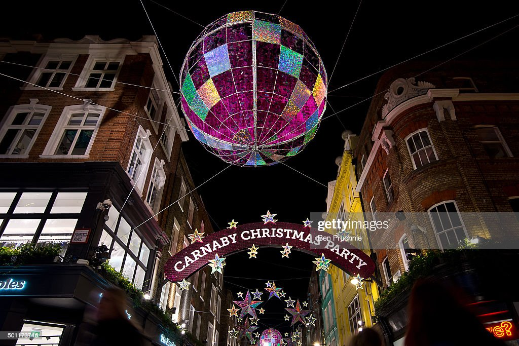 A Giant Bauble And Stars Are Seen Above Carnaby Street As Part Of Its Christmas Light