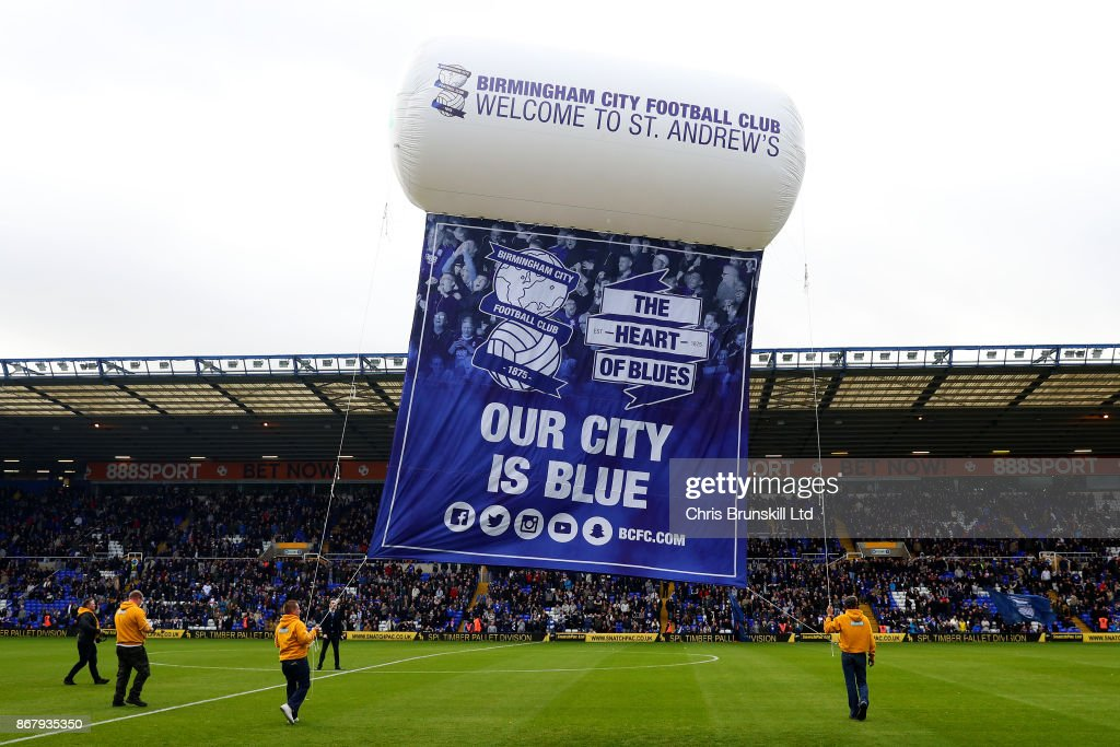 A giant Birmingham City banner is seen on the pitch ahead of the Sky Bet Championship match between Birmingham City and Aston Villa at St Andrews (stadium) on October 29, 2017 in Birmingham, England.