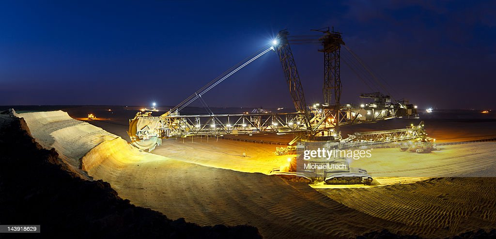 Giant Bucket-Wheel Excavator At Night Panorama : Stock Photo