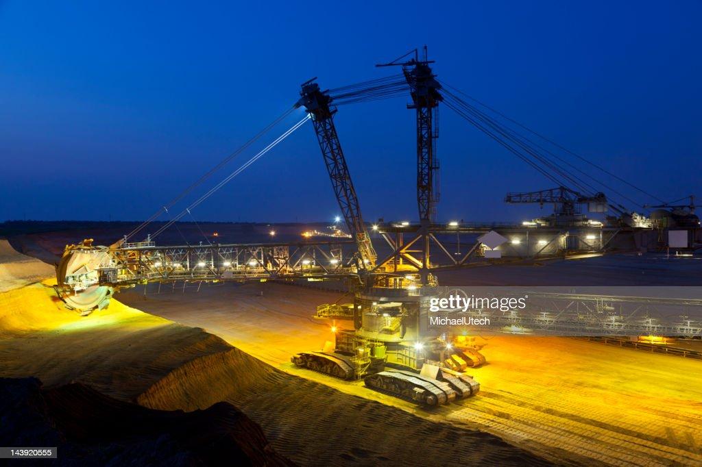 Giant Bucket-Wheel Excavator At Night : Stock Photo