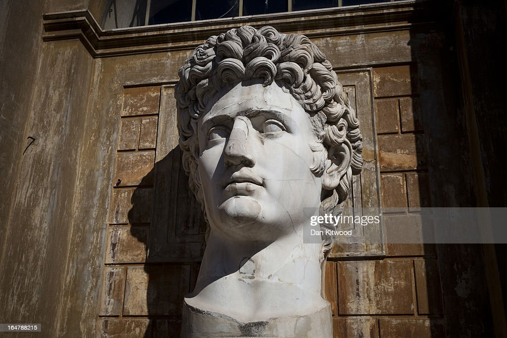 A giant bust of Caesar Augustus is displayed inside the Vatican Museum on March 21 2013 in Rome Italy